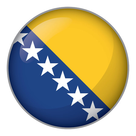 Icon representing round button Bosnia flag. Ideal for catalogs of institutional materials and geography
