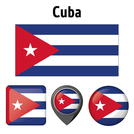 Flag of Cuba, and several icons. Ideal for catalogs of institutional materials and geography