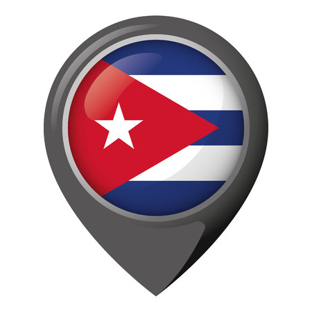 Icon representing location with flag of Cuba. Ideal for catalogs of institutional materials and geography