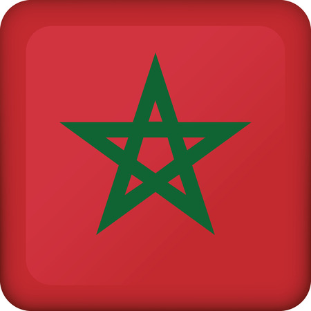 Flag of Morocco square button flag. Ideal for catalogs of institutional materials and geography