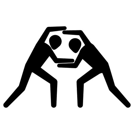 Illustration depicts pictogram of sport table tennis, game of ping pong. Ideal for sports and institutional materials.