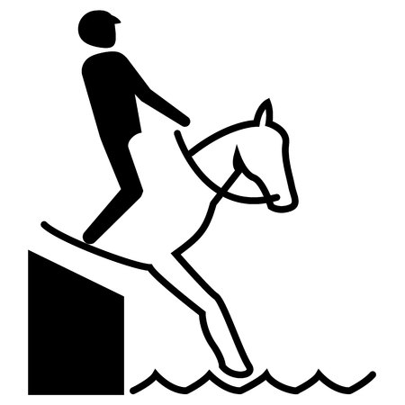 Illustration represents sport pictogram equestrian, jump mode with barrier. Ideal for sports and institutional materials.