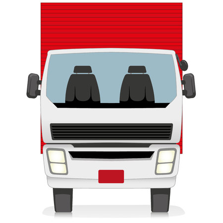 Illustration represents a transport, front of vehicle truck with trunk or container. Ideal for educational and institutional materials