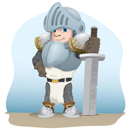 Knight with a sword, medieval warrior, Ideal for comics and fantasy tales.