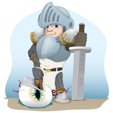 Knight with a sword stepping over the eye and monster, Ideal for comics and fantasy tales.
