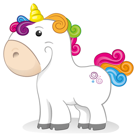 Little unicorn, fluffy and graceful equine mascot. Ideal for comics and fantasy tales