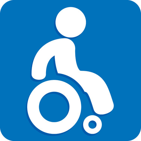 Icon representing square button, pictogram deficient physical chairwoman. Ideal for catalogs, information and institutional material