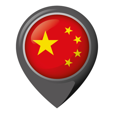 Icon representing location with the flag of China, ideal for catalogs of institutional materials and geography.