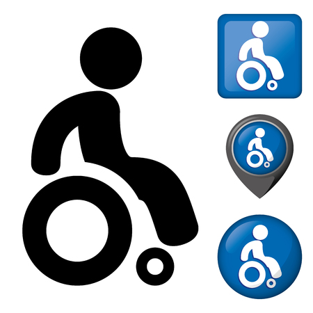 Icon physically handicapped pictogram and various wheelchair icons. Ilustração