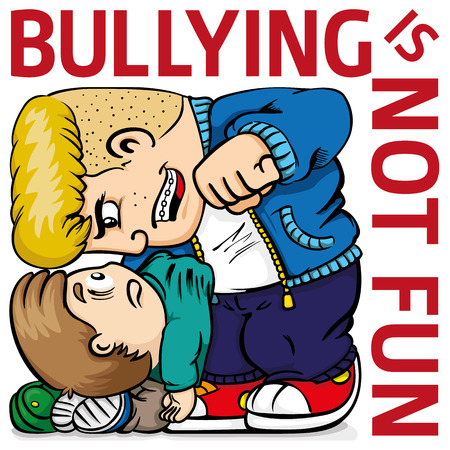 Illustration of a child suffering bullying from a quarrelsome bully, and text. Ideal for catalogs, information and institutional material Stock Illustratie