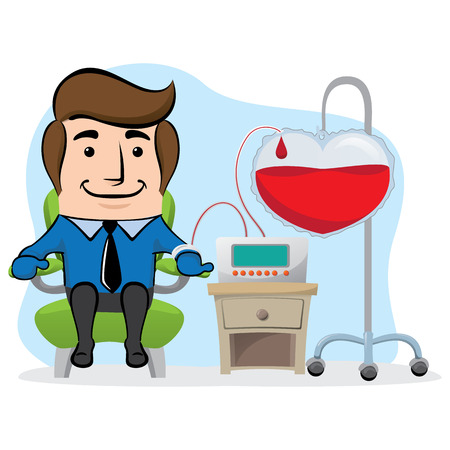 Illustration of an executive office mascot, donating blood. Ideal for awareness raising and encouragement of blood donation