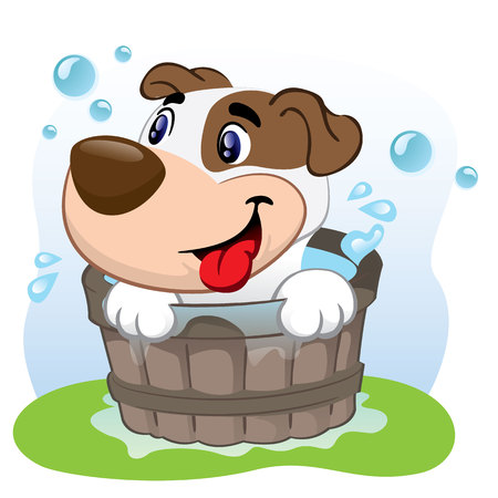Illustration of a dog bathing in a tub of water. Ideal for visual communication, informational and institutional and veterinary material  イラスト・ベクター素材