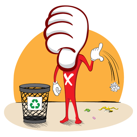 NotLike Mascot, throwing trash on the floor instead of trash. Example of a wrong attitude, messing the streets. Ideal for catalogs, informational and educational
