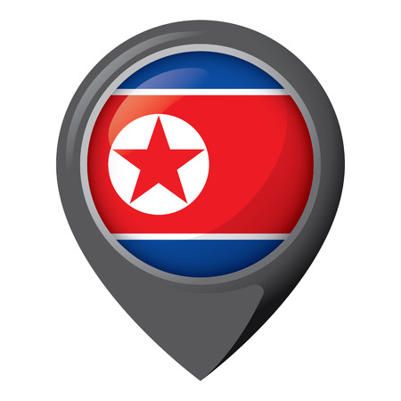Icon representing location pin with the flag of North Korea. Ideal for catalogs of institutional materials and geography
