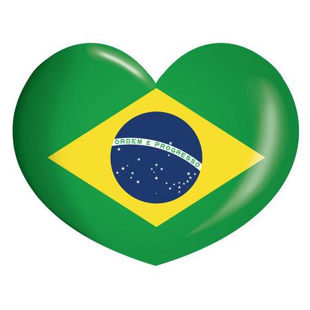 Coeur d'icone illustration avec le drapeau du Brésil. Idéal pour les catalogues de matériaux institutionnels et de géographie