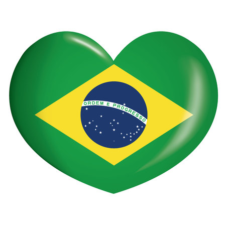 Illustration icone heart with Brazil flag. Ideal for catalogs of institutional materials and geography