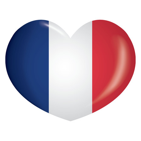 Illustration icon heart with flag of France. Ideal for catalogs of institutional materials and geography Vetores