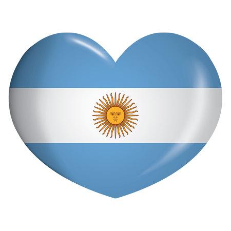 Coeur d'icône d'illustration avec le drapeau de l'Argentine. Idéal pour les catalogues de matériaux institutionnels et de géographie