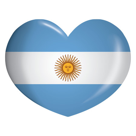Illustration icone heart with Argentina flag. Ideal for catalogs of institutional materials and geography