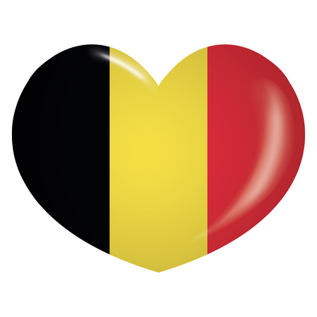 Illustration icone heart with flag of Belgium. Ideal for catalogs of institutional materials and geography