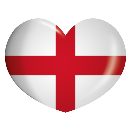 Illustration heart icon with flag of England. Ideal for catalogs of institutional materials and geography