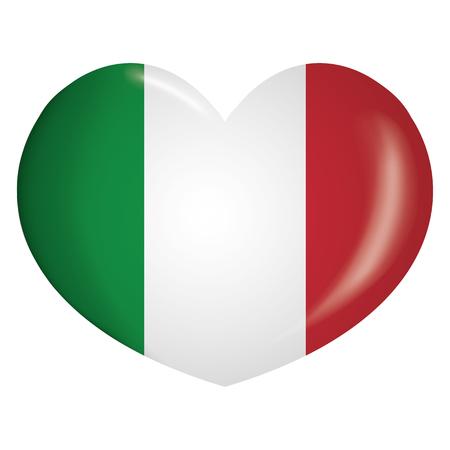 Coeur d'icone illustration avec le drapeau de l'Italie. Idéal pour les catalogues de matériaux institutionnels et de géographie