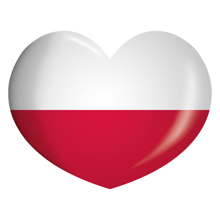 Illustration icon heart with flag of Poland. Ideal for catalogs of institutional materials and geography