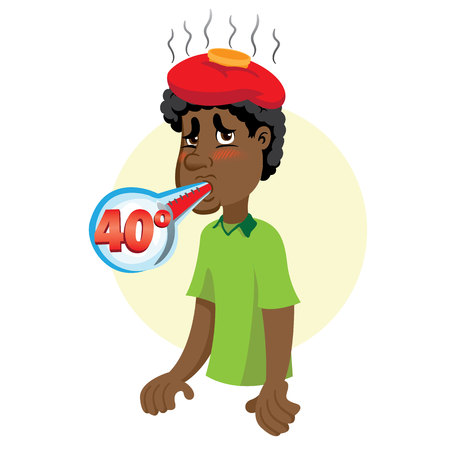Mascot Ben person afro-descendant man, with high fever, symptom. Ideal for informational and institutional related to medicine