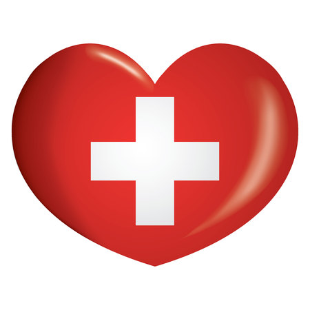 Illustration heart icon with flag of Switzerland. Ideal for catalogs of institutional materials and geography
