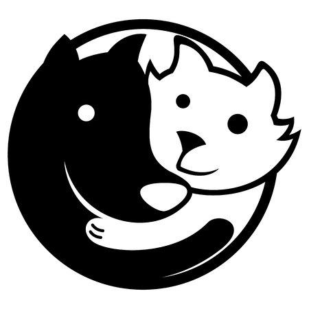 Icône ou emblème représentant chien et chat embrassant dans l'équilibre et l'harmonie, rappelant le Yin-yang. Idéal pour les questions promotionnelles et institutionnelles Vecteurs