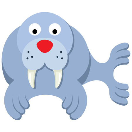 Illustration representing icon mascot walrus. Ideal for veterinary materials, biology and zoology