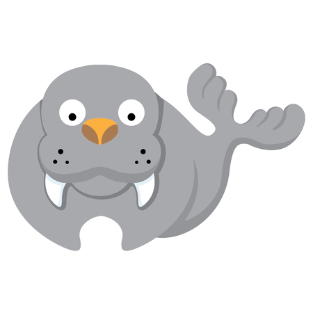 Illustration representing icon mascot walrus. Ideal for veterinary materials, biology and zoology Vetores