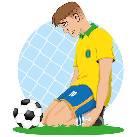 Illustration of soccer player sad Brazil knee in front of a ball, defeated, eliminated, lose. Ideal for sports and educational materials