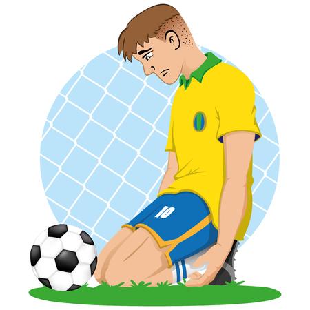 Illustrazione del ginocchio triste del Brasile del calciatore davanti ad una palla, sconfitto, eliminato, perde. Ideale per materiale sportivo e didattico Vettoriali