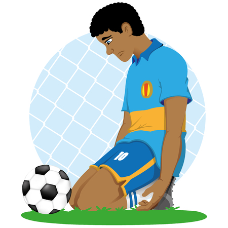 Illustration of soccer player african descent sad knee in front of a ball, defeated, eliminated, losing. Ideal for sports and educational materials