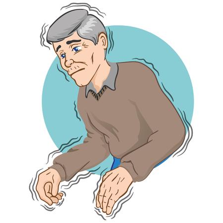Personne âgée présentant des symptômes tremblants de la maladie de Parkinson, froid ou peur, de race blanche. Idéal pour le matériel éducatif et institutionnel