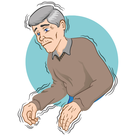 Elderly person with trembling symptoms of Parkinsons, cold or fear, Caucasian. Ideal for educational and institutional materials