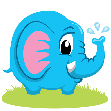 Illustration of a baby elephant, mammal puppy, little pachyderm. Ideal for educational and informational materials