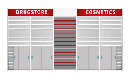 Paisaje del estante de la tienda con separadores, farmacia, cosméticos. Ideal para catálogos, material y medios informativos y publicitarios