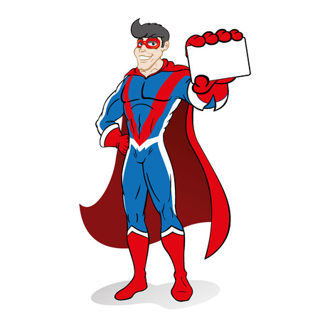 Illustration depicting superhero person doing imposing pose and holding or showing a card or something. Ideal for educational and institutional materials