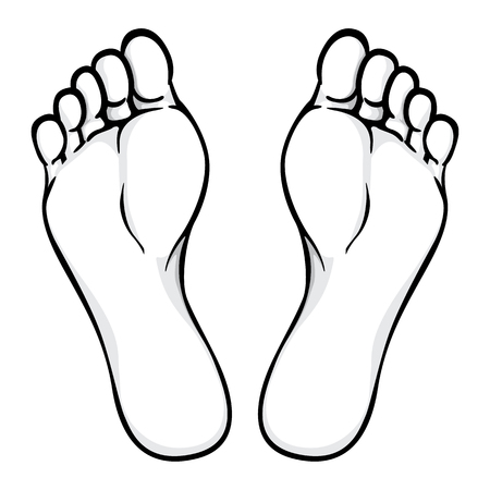 Ilustración de parte del cuerpo, planta o planta del pie, blanco y negro. Ideal para catálogos, información y material institucional