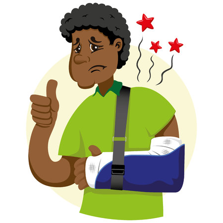 Mascot ben person man, with arm bandaged, fracture, immobilized, using orthopedic sling. Ideal for informational and institutional related to medicine