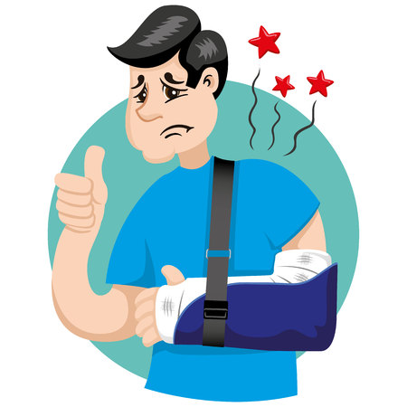 Mascot bob person man, with arm bandaged, fracture, immobilized, using orthopedic sling. Ideal for informational and institutional related to medicine