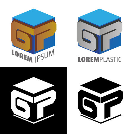 Icon, logo, conceptual letter G and letter P. Ideal for visual communication, informational and institutional material Ilustração