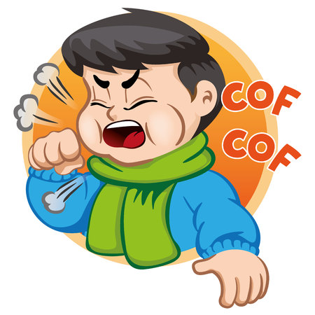 Illustration depicts a child character with cough wearing scarf and blouse. Ideal for health and institutional information Illustration