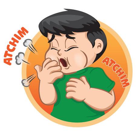 De illustratie toont een kindkarakter dat niezen, allergie, rhinitis, griep geeft. Ideaal voor gezondheids- en institutionele informatie