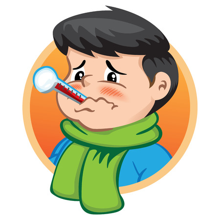 Illustration depicts a child character with thermometer in his mouth, sick, wearing winter clothing. Ideal for health and institutional information