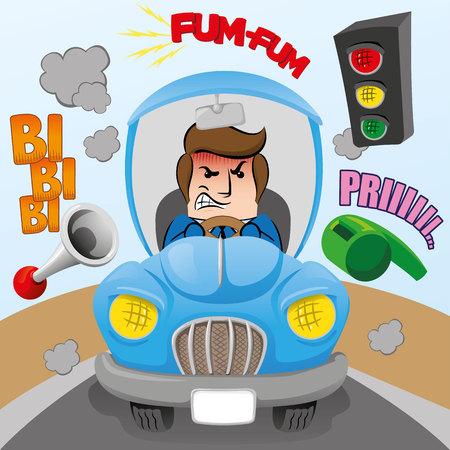 Illustrazione della persona esecutiva della mascotte con abbigliamento sociale, nervoso, arrabbiato mentre guida un'auto, stressato dall'inquinamento acustico. Ideale per cataloghi, informazioni e materiale istituzionale Vettoriali