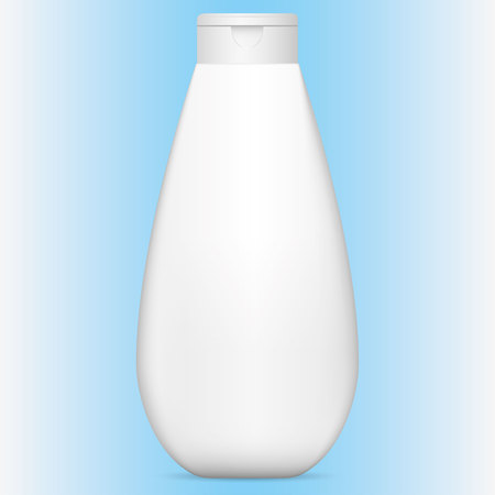 Illustration of an object bottle object for cleaning product or cosmetic, white, flip-flop cap. Ideal for product catalogs and cosmetic hygiene information