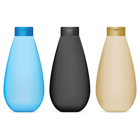 Illustration of an object bottle object for cleaning product or cosmetic, colors, flip-flop cap. Ideal for product catalogs and cosmetic hygiene information